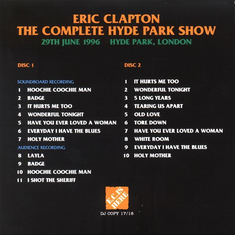 Eric Clapton The Complete Hyde Park Show Djcopy Ec Was