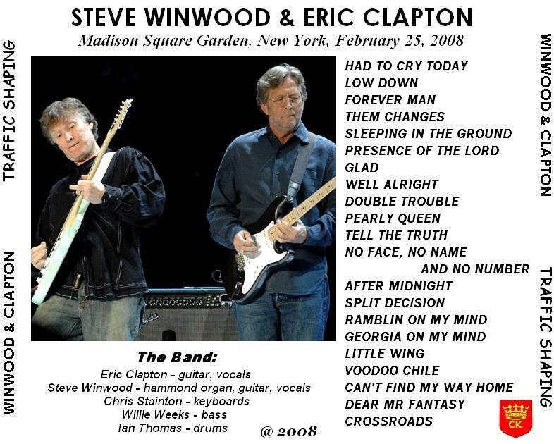 Eric Clapton And Steve Winwood Traffic Shaping Madison Square Garden New York New York